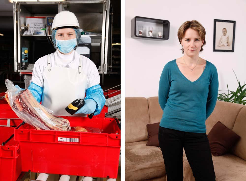 L'abattoir. Dans ce diptyque, sur la première image, une employée scanne des lots de viande sur la seconde elle pose dans son salon