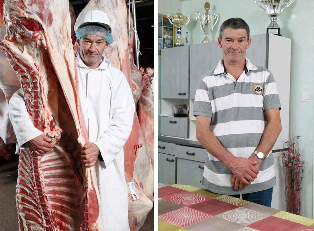L'abattoir. Dans ce diptyque, sur la première image, un employé transporte des carcasses de bovins sur la seconde il pose dans son salon