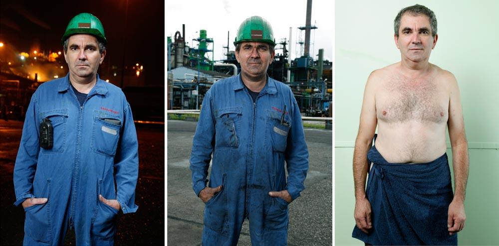 triptyque d'un ouvrier de la pétrochimie. La première image est prise devant l'usine le matin, la seconde en fin de journée et la troisième à l'issue de la douche