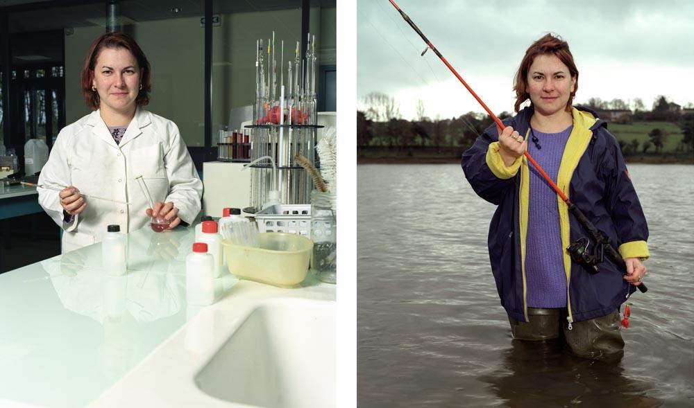 Double je Une chercheuse de l'institut du vin de Gaillac pose dans son laboratoire puis au lac de la Roucarié lors d'une partie de pèche