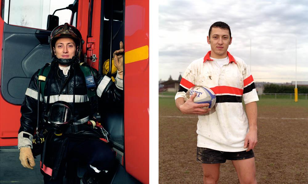 Double je Un pontier professionnel pose devant son camion puis sur la seconde image au stade, un ballon de rugby à la main