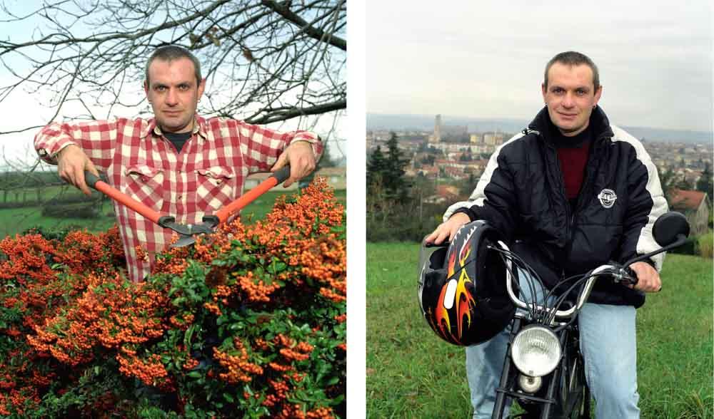 Double je Un jardinier pose taillant une haie puis sur son vélomoteur sur les hauteurs de la ville d'Albi