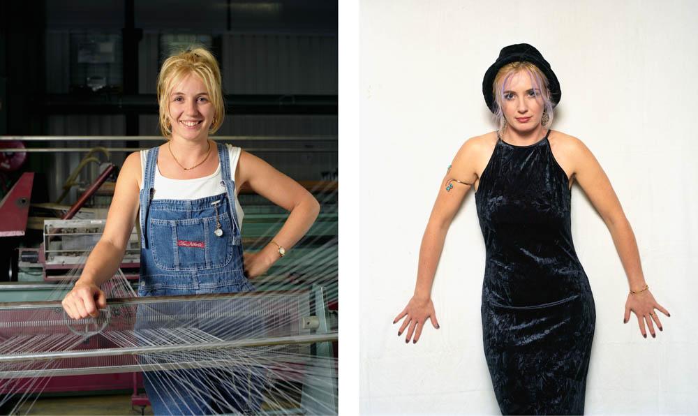 Double je Un jeune femme, ourdisseuse dans l'industrie textile pose derrière son métier puis sur la seconde image, en robe de soirée devant un fond blanc