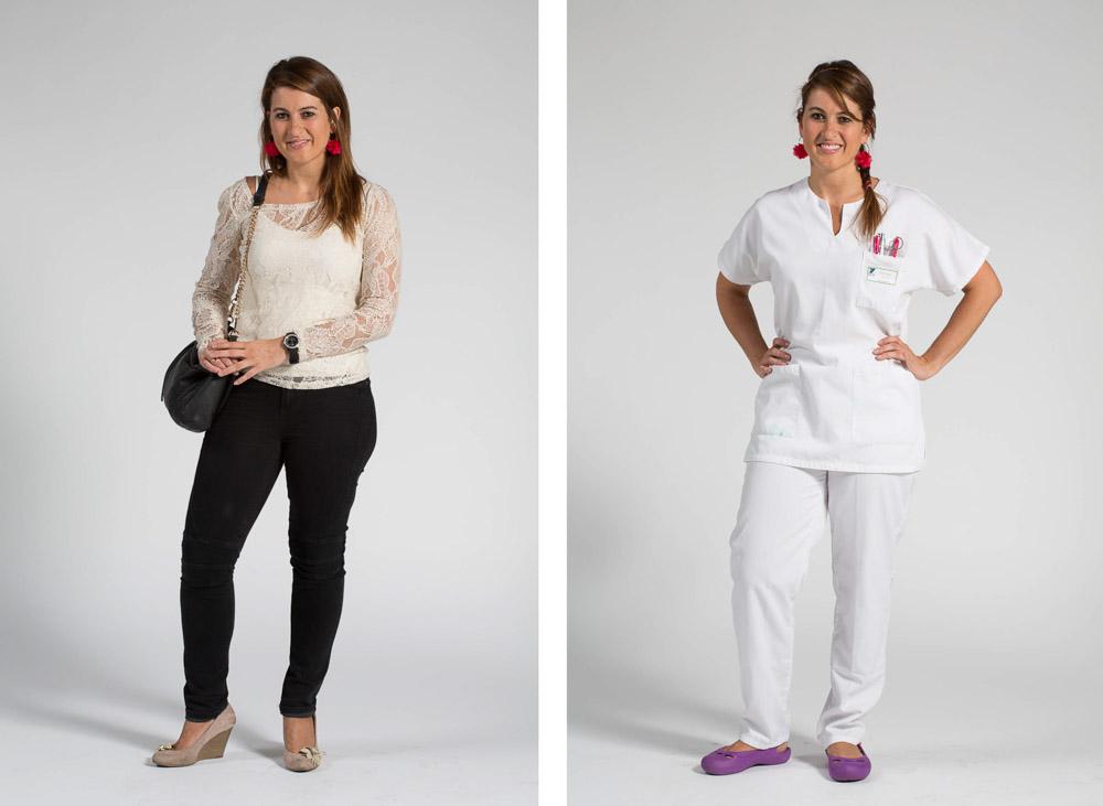 une infirmière pose en pied sur fond uni en habit de ville puis en blouse blanche