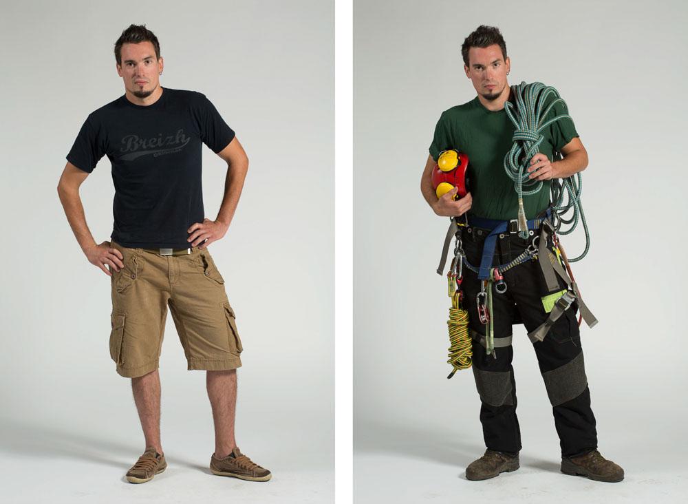 un bucheron, grimpeur élagueur pose en pied sur fond uni en habit de ville puis en vêtement de travail avec casque, cordes et harnais
