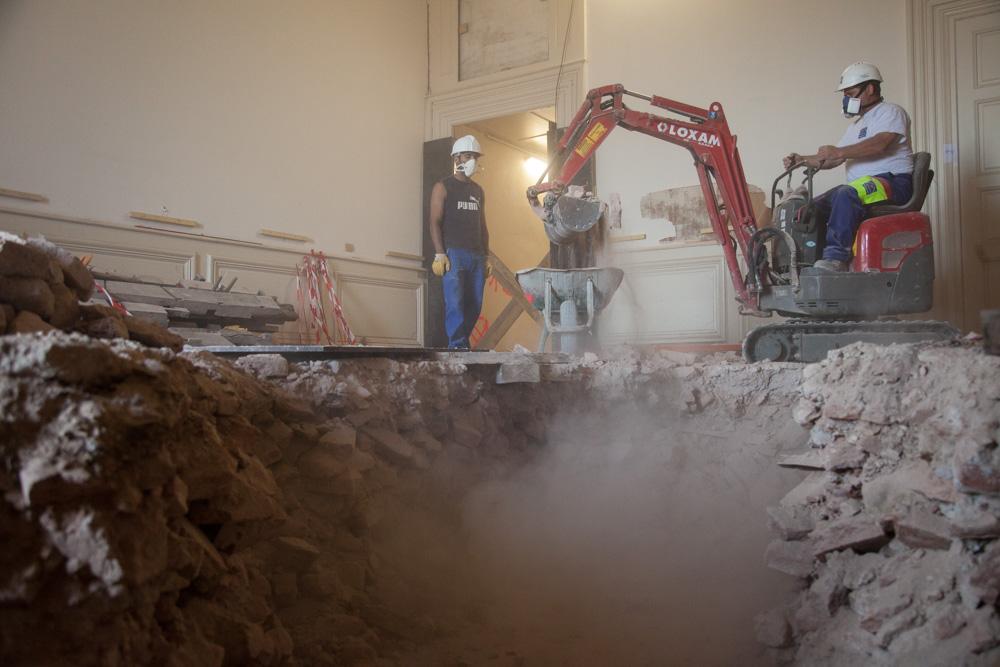 Chantier de rénovation Musée Toulouse-Lautrec d'Albi démontage des planchers