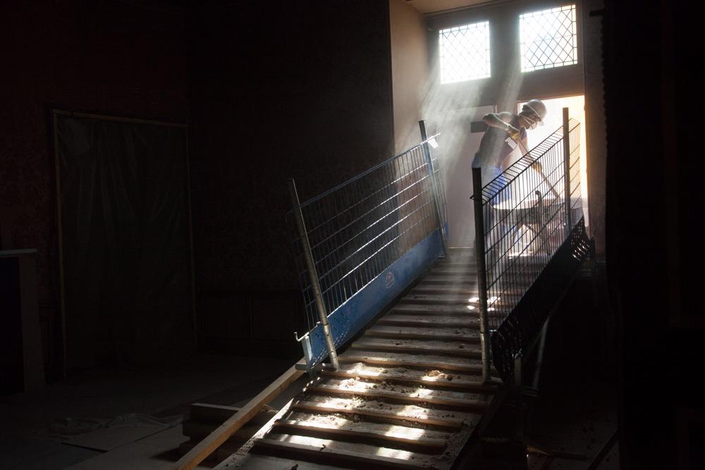 Chantier de rénovation Musée Toulouse-Lautrec d'Albi Déblayage des déchets