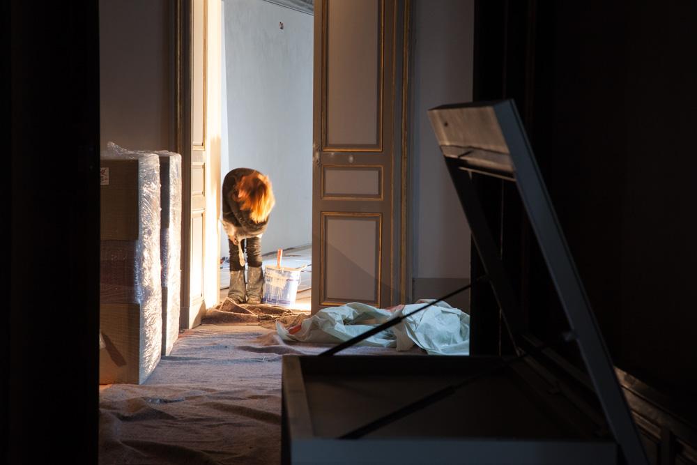 Chantier de rénovation Musée Toulouse-Lautrec d'Albi peinture des boiseries