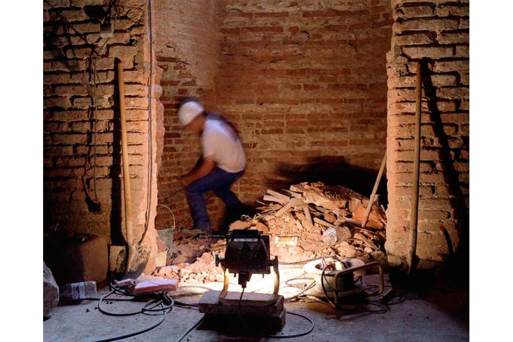 Chantier de rénovation Musée Toulouse-Lautrec d'Albi ouverture d'un passage