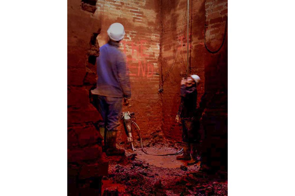 Chantier de rénovation Musée Toulouse-Lautrec d'Albi forage voie de l'ascenseur