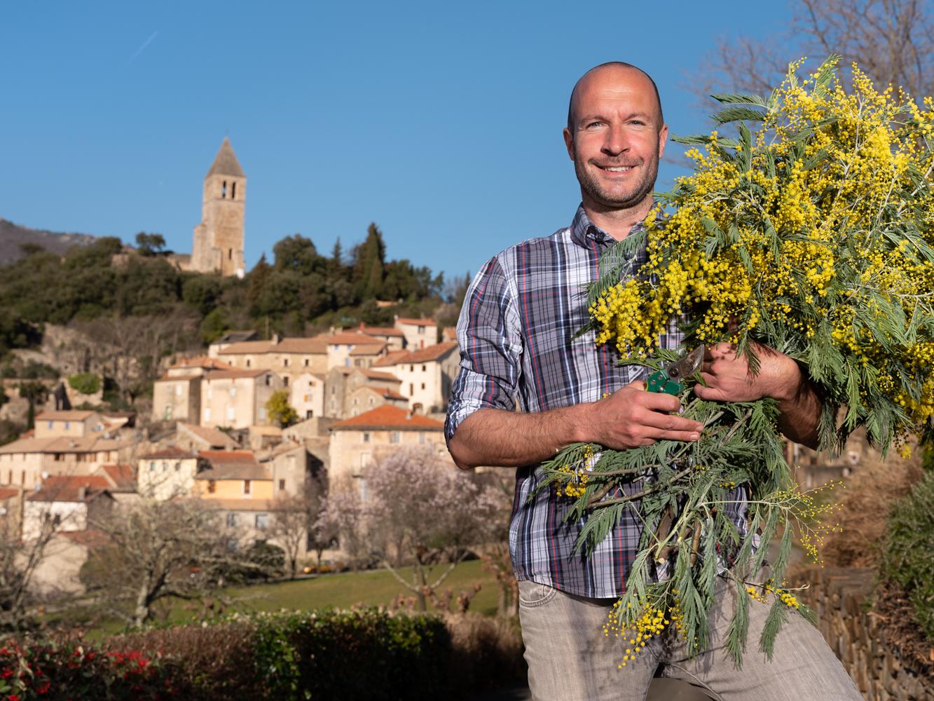 François , horticulteur, Olargues usagers voie verte Parc naturel Haut-Languedoc région Occitanie