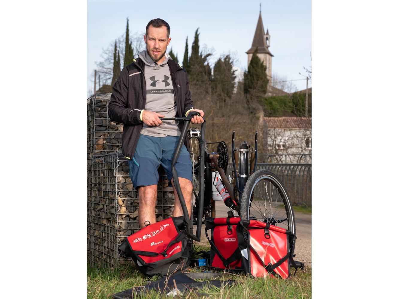Sébastien, Mécanicien cycles, Poujol sur Orb usagers voie verte Parc naturel Haut-Languedoc région Occitanie
