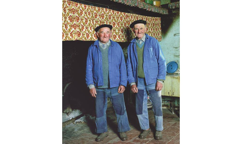 Agriculteurs jumeaux en bleu de travail près de leur cheminée