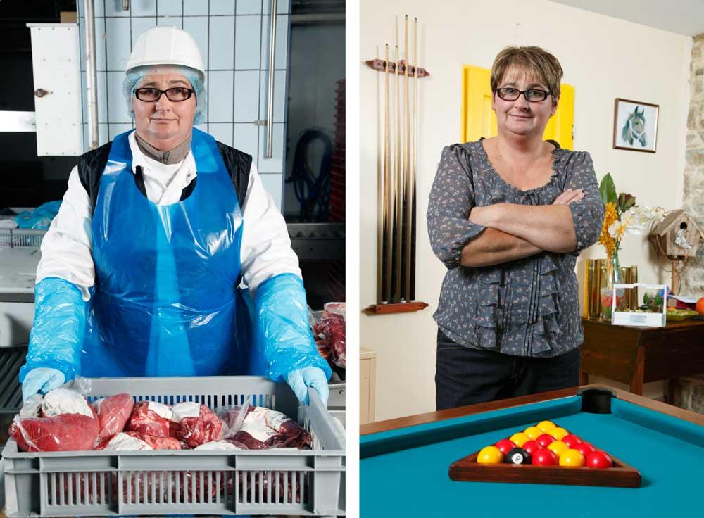 L'abattoir. Dans ce diptyque, sur la première image, une employé emballe de la viande sur la seconde elle pose chez elle à son billard