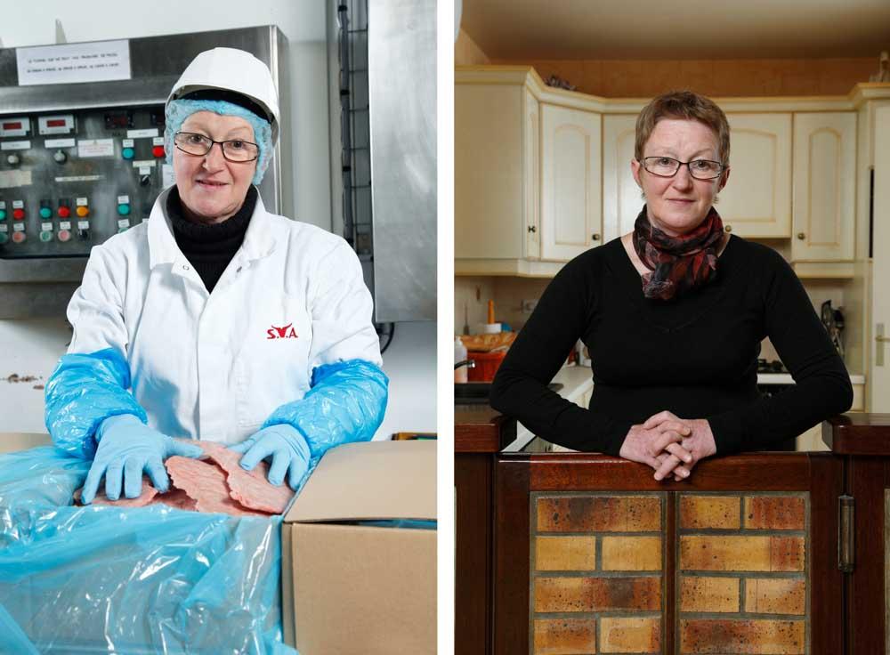 L'abattoir. Dans ce diptyque, sur la première image, une employée emballe de la viande congelée sur la seconde elle pose dans sa cuisine