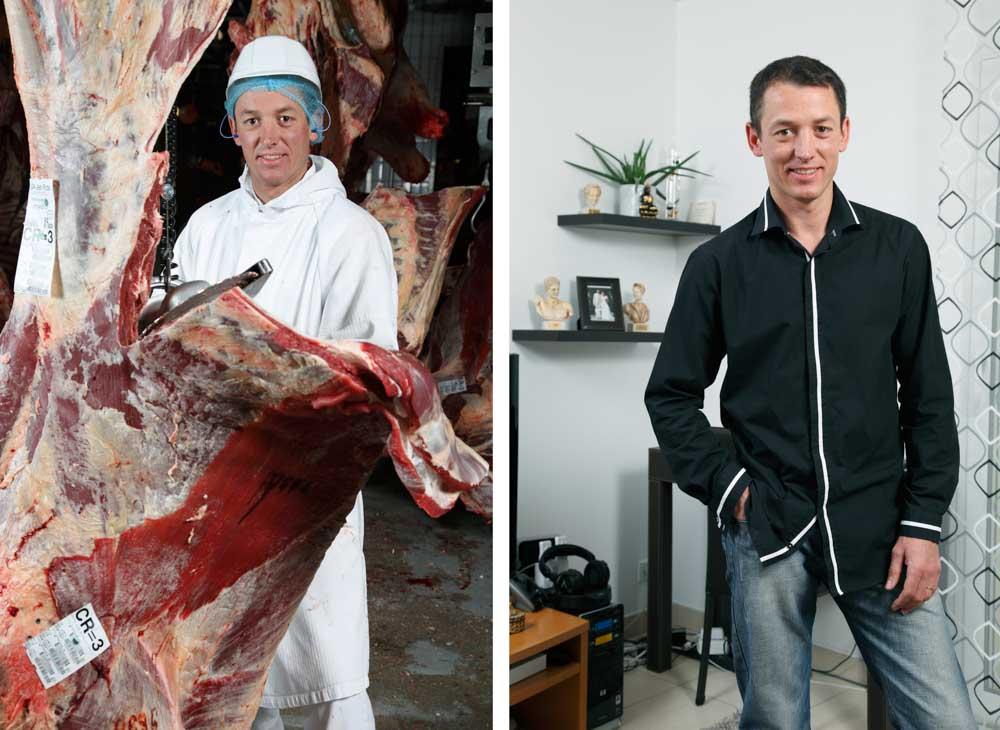 L'abattoir. Dans ce diptyque, sur la première image, un boucher est découpe des carcasses de bovins sur la seconde il pose chez lui