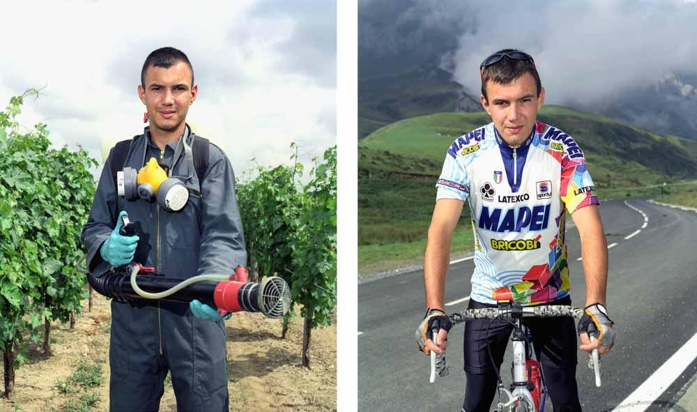 Double je Un apprenti en BTS agriculture pose pendant son stage dans une vigne puis au sommet du Soulor avec son vélo