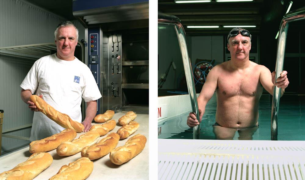 Double je Un boulanger pose devant son four sortant les flutes de pain puis à la piscine, sortant du bain
