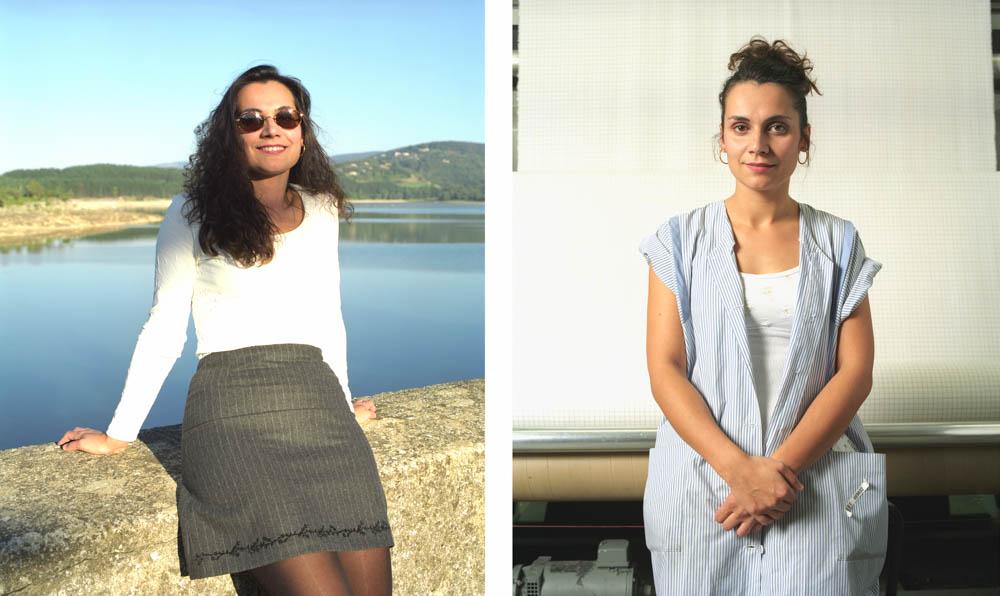 Double je Un jeune femme, contrôleuse dans l'industrie textile pose devant son ouvrage puis prés du lac de saint Féréol assise sur un parapet