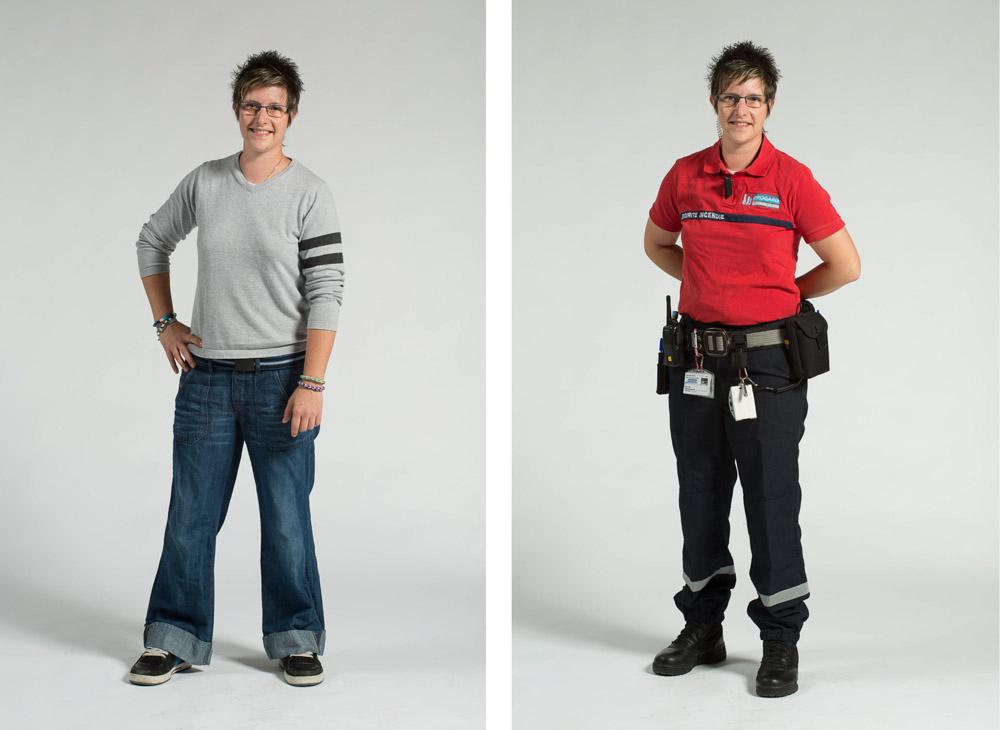 une agent chef de sécurité incendie pose en pied sur fond uni en habit de ville puis uniforme