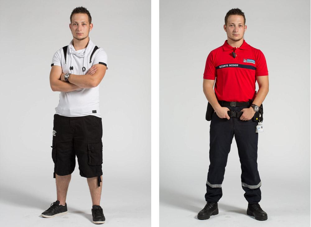 un agent de sécurité incendie pose en pied sur fond uni en habit de ville puis uniforme