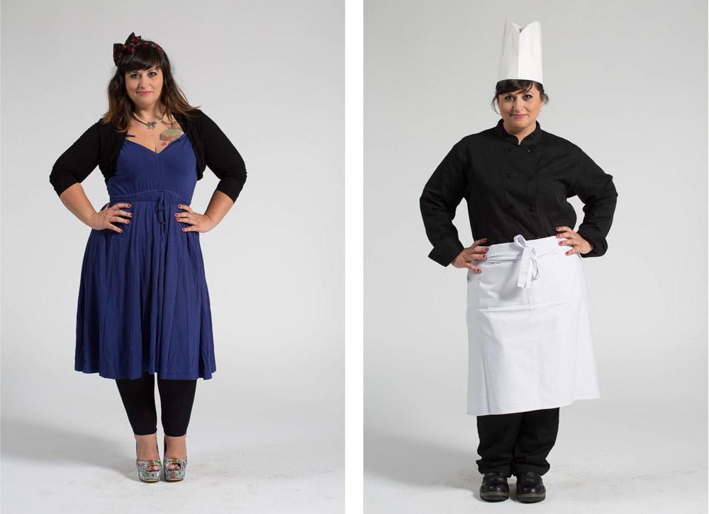 une chef cuisinier pose en pied sur fond uni en habit de ville puis en vêtement de travail
