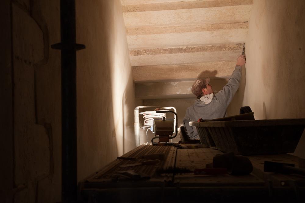 Chantier de rénovation Musée Toulouse-Lautrec d'Albi les enduits