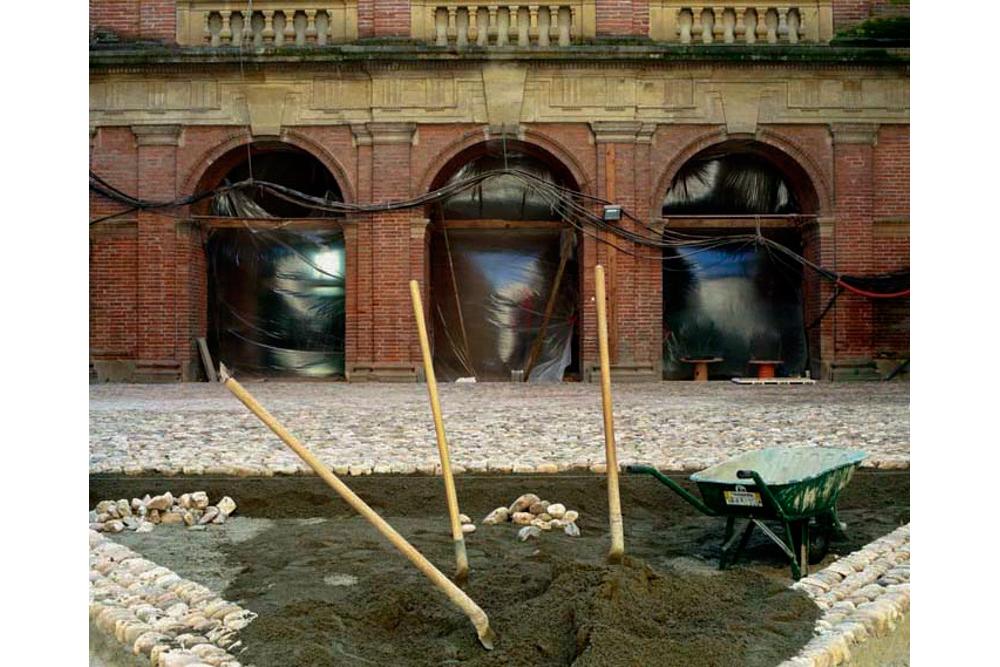 Chantier de rénovation Musée Toulouse-Lautrec d'Albi la cour d'honneur