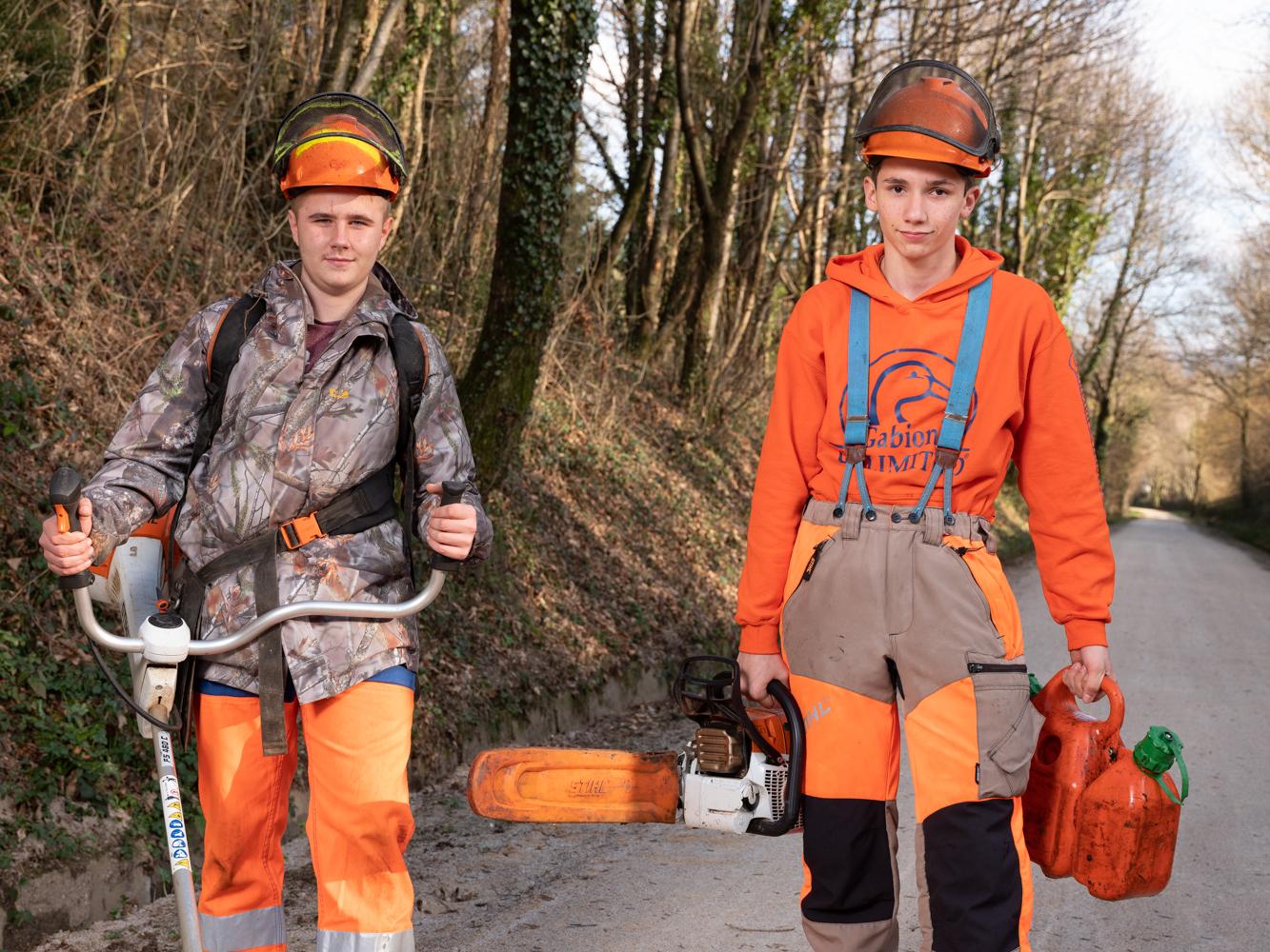 Valentin et Alenzo, Lycéens Lycée forestier Saint Amans usagers voie verte Parc naturel Haut-Languedoc région Occitanie